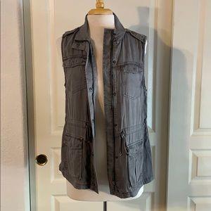 Gray fashion utility vest